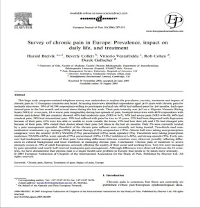 Survey of chronic pain in Europe